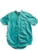 Tommy Hilfiger Classic Fit Mens ~Sm Button Down Green Shirt Short Sleeve