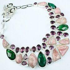 "Handmade Pink Rhodochrosite Gemstone 925 Sterling Silver Necklace 16"" #H00054"