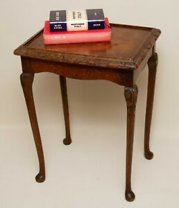 Small Vintage Carved Wooden Side Table Queen Anne Legs Reading Lamp Table
