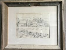 SIGNED SKETCH ART~PENCIL DRAWING~FARMHOUSE & SILOS~VINTAGE RECLAIMED WOOD FRAME
