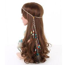 Indian Festival Feather Gypsy Headband Boho Hippie Headdress Hair Accessories