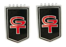 NEW! FORD Mustang Front Fender Emblems GT Cars Black Resto Mod Pair, Set of 2