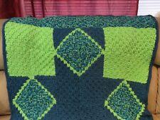 New! Handmade Crochet Blanket Throw Afghan - Teal, Lime, Dark Teal