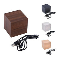 Würfel Holz Holz Digital LED Schreibtisch Voice Control Wecker Thermometer ZJP