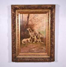Antique Oil on Canvas Painting of 3 Hunting Dogs by Paul Schouten (1860-1922)