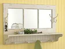 Shabby Chic Style Distressed Cream Southport Mirror Shelf with Hooks, 24x16 Inch