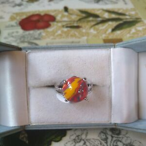 Art Decco red/ multi faux banded agate Silver Tone Ring Size  P New with tags