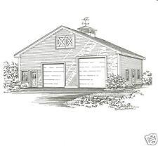 36 x 30 2 Bay FG Equipt or RV Garage Building Blueprint Plans
