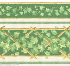 Golden Bamboo Lattice Green Ivy Leaf Vine Silk Country Kitchen Wall paper Border