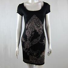Short Sleeved BodyCon Mini Dress Black Floral Tribal Design Size 8