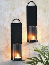 Dekoratives 2er Set Wandkerzenhalter für Teelichter aus Metall für Teelichter