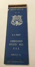 Matchbook Cover Matchcover US Military Navy Officers Mess Norfolk VA