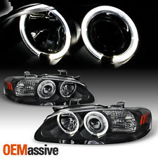 Fits 00-03 Sentra JDM Black Dual Halo Projector Headlights Lamps Left+Right Pair