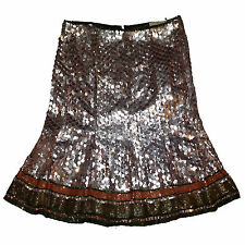 Luxurious Valentino Hand Embroidered with Sequence and Beads silk skirt sz 10