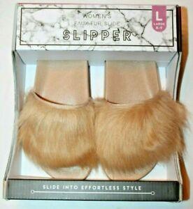 Women's Ladies' Long Hair Boxed Faux Fur Slide Slippers