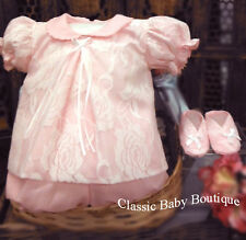 NWT Will'beth Pink Lace Overlay Diaper Set 3pc Newborn Booties Baby Girls