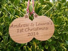 Personalizado de árbol de Navidad Adornos: Grabado Decoraciones De Madera Para Pareja