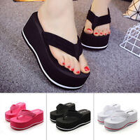 UK Women Platform High Heel Slippers Flip Flops Summer Wedge Sandals Beach Shoes