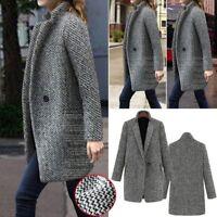 Womens Lapel Wool Cashmere Trench Coat Jacket Long Parka Office Overcoat Outwear