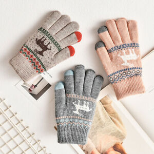 Ladies Womens Christmas Gift Winter Warm Thermal Pattern Knitted Gloves