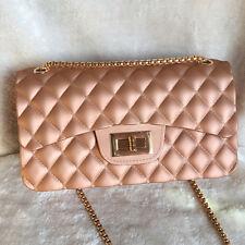 Rose Gold 22cm Matte Girl Women PVC Jelly messenger Chain Crossbody Shoulder Bag