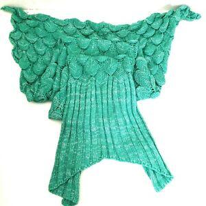 LAGHCAT Mermaid Tail Blanket Knitted Mermaid Throw Blanket Turquoise NEW