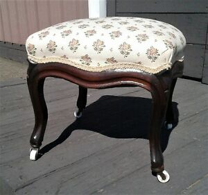 Antique Walnut Victorian Foot Stool with Porcelain Casters 1875s