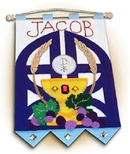 "First Communion Banner Kit ""Gates of Heaven"" Blue  9x12"""