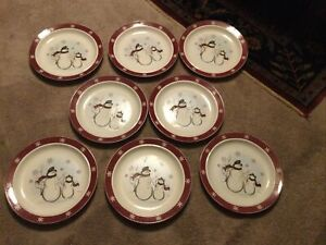 "ROYAL SEASONS Stoneware Snowmen Holiday Christmas 10"" Dinner Plates Set of 8"
