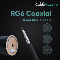 1000FT RG6 Bulk Coaxial Cable 18AWG Dual Shield Wire Satellite TV Black Coax