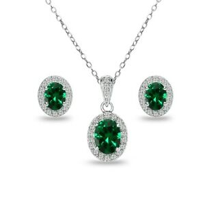 Oval Halo Simulated Emerald & White Topaz Necklace & Stud Earrings Set in Silver