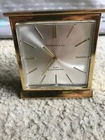 Vintage Tiffany and Co Quartz Brass Desk Clock French 400 Electronic Movement