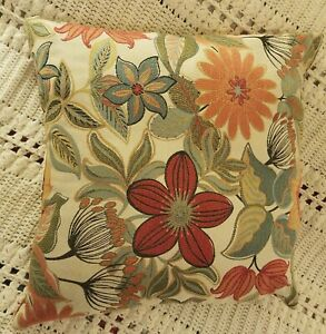 """Vintage Colorful Floral Throw pillow 18x19"""" Orange Green Yellow MCM HIPPY CHIC"""