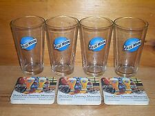BLUE MOON BREWERY 4 BEER PINT GLASSES & BAR COASTERS NEW