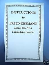 Freed Eisemann Tube Radio Receiver NR-7 Instructions NR