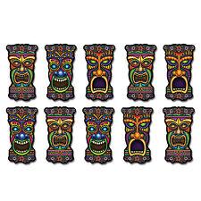 10 Tropical MINI TIKI MAN Mask Diecut CUTOUT Party Decorations LUAU JUNGLE