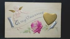 To My Valentine Vintage Post Card Unused Gold gilt heart Cupid Red Rose