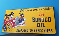 """VINTAGE WALT DISNEY PORCELAIN MICKEY MOUSE SUNOCO GASOLINE MOTOR OIL SIGN 24"""""""