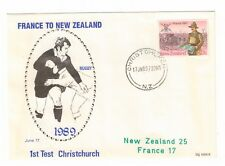 NEW ZEALAND v FRANCE 1989 SOUVENIR COVER RUGBY UNION 1ST TEST CHRISTCHURCH CDS