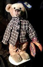 """Brass Button Bears """"Bennett"""" 1990's Plush Soft Stuffed Animal with Stand"""