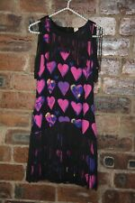 VERSACE FOR H & M BLACK/PINK HEARTS FRINGED SILK DRESS SIZE 8 VGC