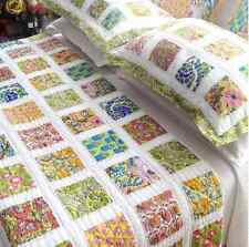 4PC Queen Bed Quilt Set Hand Quilted Bali Floral Cotton Patchwork Bedspread $369