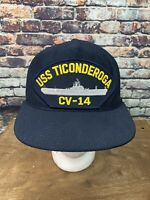 USS Ticonderoga CV-14 Carrier Vessel Black Snapback Hat Cap Made in USA