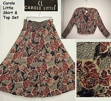 NEW! CAROLE LITTLE Rayon FLORAL Peasant Broomstick Skirt & Top SET Sz 12/M $88