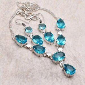 Blue Topaz Ethnic Handmade Necklace+Earrings Jewelry 25 Gms AN 94951