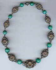 VINTAGE ETRUSCAN LOOK ORNATE SILVER TONE BEADS & GREEN MARBLED GLASS NECKLACE