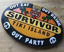 Survivor Tiki Mask 3D routed carved Island Beach pool custom sign Custom