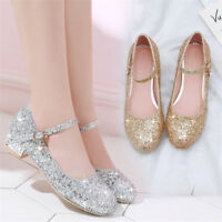 Women's Ankle Strap Sequin Ballet Flats Round Toe Pumps Chunky Low Heel Shoes