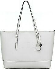GUESS HANDBAG WOMEN'S TOTE W/ EMBOSSED LOGO COLOR WHITE/NEW