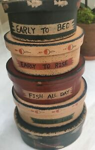 Set of 5 Oval Nesting Boxes for Fishermen;Primitive Whimsical Paper mache;